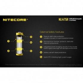 NITECORE 14500 Micro USB Rechargeable Li-ion Battery 750mAh - NL1475R - Black - 5