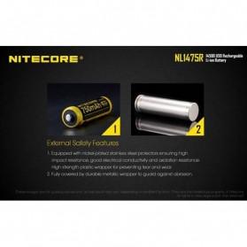 NITECORE 14500 Micro USB Rechargeable Li-ion Battery 750mAh - NL1475R - Black - 7