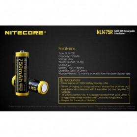 NITECORE 14500 Micro USB Rechargeable Li-ion Battery 750mAh - NL1475R - Black - 8