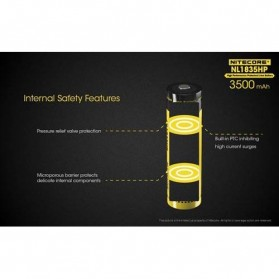 NITECORE 18650 Baterai Li-ion High Performance 3500mAh 3.6V 8A - NL1835HP - Black/Yellow - 3
