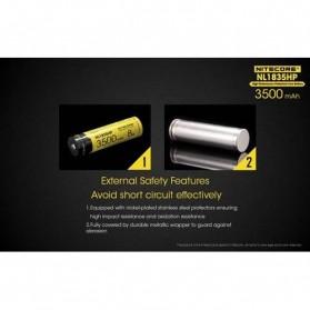 NITECORE 18650 Baterai Li-ion High Performance 3500mAh 3.6V 8A - NL1835HP - Black/Yellow - 5
