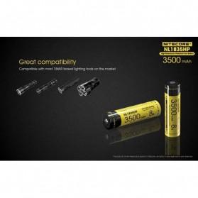NITECORE 18650 Baterai Li-ion High Performance 3500mAh 3.6V 8A - NL1835HP - Black/Yellow - 6