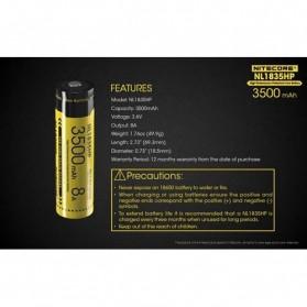 NITECORE 18650 Baterai Li-ion High Performance 3500mAh 3.6V 8A - NL1835HP - Black/Yellow - 8