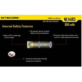 NITECORE 14500 Baterai Li-ion 850mAh 3.7V - NL1485 - Black/Yellow - 3