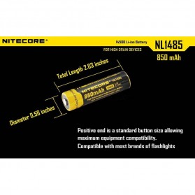 NITECORE 14500 Baterai Li-ion 850mAh 3.7V - NL1485 - Black/Yellow - 4