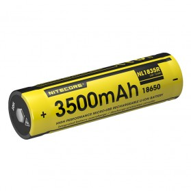 NITECORE 18650 Micro USB Rechargeable Li-ion Battery 3500mAh - NL1835R - Black