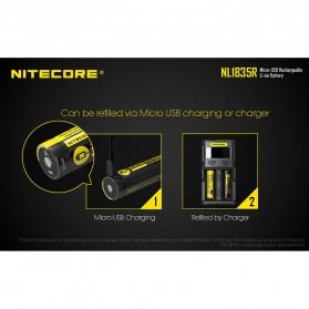 NITECORE 18650 Micro USB Rechargeable Li-ion Battery 3500mAh - NL1835R - Black - 3