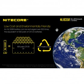 NITECORE 18650 Micro USB Rechargeable Li-ion Battery 3500mAh - NL1835R - Black - 8