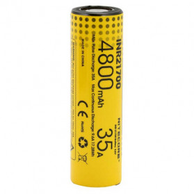 NITECORE Baterai INR21700 Unprotected High-Drain 4800mAh 35A 3.6V Flat Top - Yellow