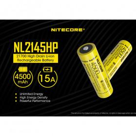 NITECORE 21700 Baterai Li-ion 4500mAh 3.6V 15A - NL2145HP - Black/Yellow - 3