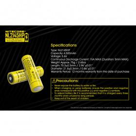 NITECORE 21700 Baterai Li-ion 4500mAh 3.6V 15A - NL2145HP - Black/Yellow - 4