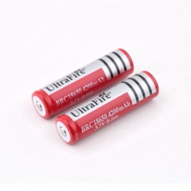 UltraFire Rechargeable Battery for LED Flashlight 3.7V 4800mAh with Button Top - BRC 18650 1PCS - Red - 2