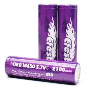 Efest Purple IMR 18650 Li-Mn Battery 2100mAh 3.7V 38A with Flat Top - Purple