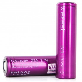 Efest Purple IMR 18650 Li-Mn Battery 3000mAh 3.7V 35A  with Flat Top - 18650V1 - Purple