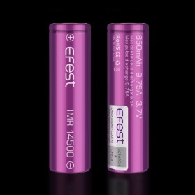 Efest IMR 14500 Battery 650mAh 3.7V 9.75A with Flat Top - 14500V1 - Purple - 2