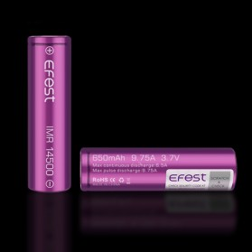 Efest IMR 14500 Battery 650mAh 3.7V 9.75A with Flat Top - 14500V1 - Purple - 4