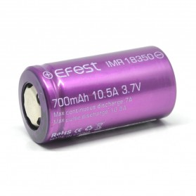 Efest IMR 18350 Battery 700mAh 3.7V 10.5A with Flat Top - Purple