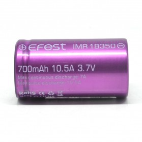 Efest IMR 18350 Battery 700mAh 3.7V 10.5A with Flat Top - Purple - 3