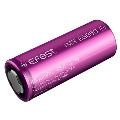 ... Efest IMR 26650 Battery 5000mAh 3.7V 45A with Flat Top - Purple - 1 ...