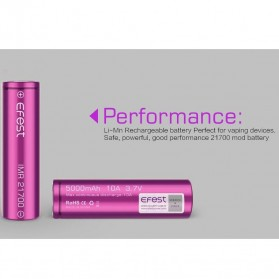 Efest Purple IMR 21700 Li-Mn Battery 5000mAh 3.7V 10A with Flat Top - Purple - 5
