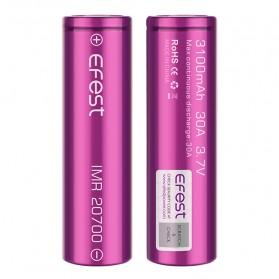 Efest Purple IMR 20700 Li-Mn Battery 3100mAh 3.7V 30A with Flat Top - Purple - 3