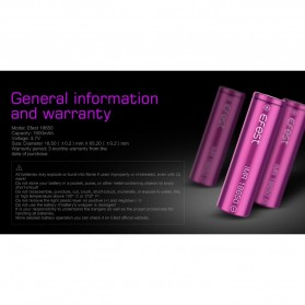 Efest Purple IMR 18650 Li-Mn Battery 1600mAh 3.7V 4A with Flat Top - Purple - 5