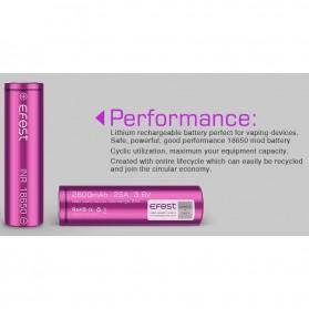 Efest Purple INR 18650 Li-Mn Battery 2600mAh 3.6V 25A with Flat Top - Purple - 6