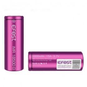 Efest Purple IMR 18500 Li-Mn Battery 1000mAh 3.7V 15A  with Flat Top - 18500P15V1 - Purple - 3