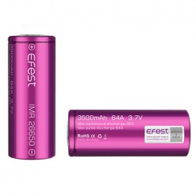 Efest Purple IMR 26650 Li-Mn Battery 3500mAh 3.7V 64A  with Flat Top - 26650V1 - Purple