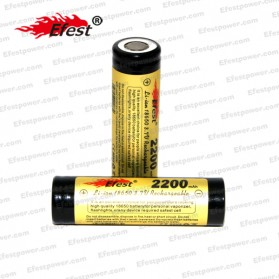 Efest ICR 18650 Li-ion Unprotected Battery 2200mAh 4.2V with Flat Top - Black/Yellow