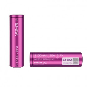 Efest Purple IMR 18650 Li-Mn Battery 3100mAh 3.7V 20A  with Flat Top - 18650P20V1 - Purple