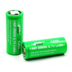 Efest IMR 26650 Li-Mn Battery 4200mAh 3.7V 50A with Flat Top - 26650V1 - Green