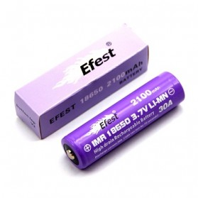 Efest Purple IMR 18650 Li-Mn Battery 2100mAh 3.7V 30A with Button Top - 18650P30V2 - Purple