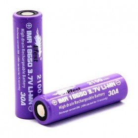 Efest Purple IMR 18650 Li-Mn Battery 2100mAh 3.7V 30A with Flat Top - 18650P30V2 - Purple