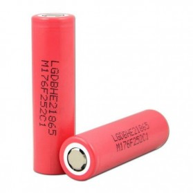 LG 18650 Li-ion Battery 2500mAh 3.7V with Flat Top - 18650HE2 - Red