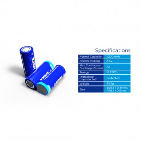 Xtar 26650 Baterai Li-ion 5200mAh 3.6V Button Top - Blue - 5