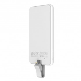 Hame Power Bank 8000mAh Built-in Lightning Cable - MF-P1 - White - 2