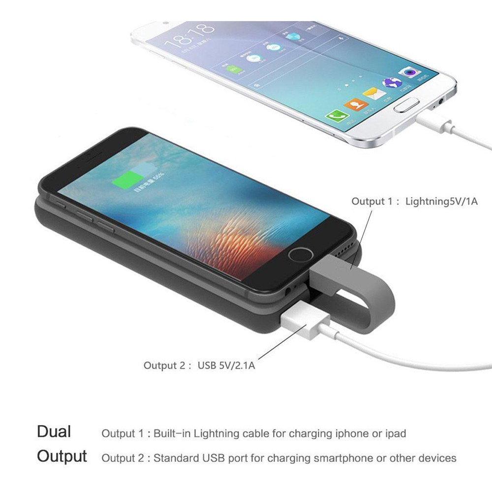 Hame Power Bank 8000mAh Built In Lightning Cable