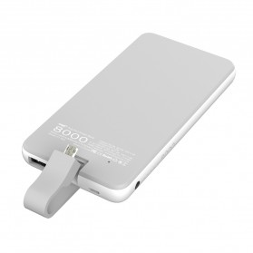 Hame Power Bank 8000mAh Built-in Micro USB QC3 Cable - P1-QC3 - White - 3