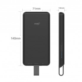 Hame Power Bank 8000mAh Built-in Micro USB QC3 Cable - P1-QC3 - White - 6