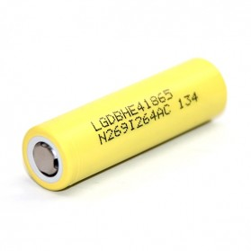 LG HE4 18650 Li-ion Battery 2500mAh 3.7V with Flat Top - Yellow