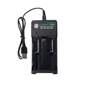 GTF Charger Baterai 18650 2 Slot Plug Micro USB - GF0012 - Black
