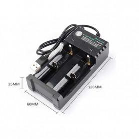 GTF Charger Baterai 18650 2 Slot Plug Micro USB - GF0012 - Black - 6