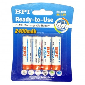 Enelong BPI Ni-MH AA Battery 2400mAh with Button Top 4 PCS - White
