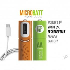 MICROBATT Baterai Cas Rechargeable AA Micro USB 1000mAh 2 PCS - Green - 4