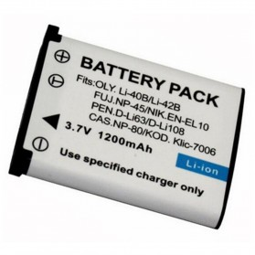 Baterai Kamera CASIO NP-80 NP-82 FUJIFILM NP-45 NP-45A KODAK KLIC-7006 NIKON EN-EL10 OLYMPUS LI-40B LI-42B D-LI63 SANYO LI-42B NP45 (Replika 1:1) - White