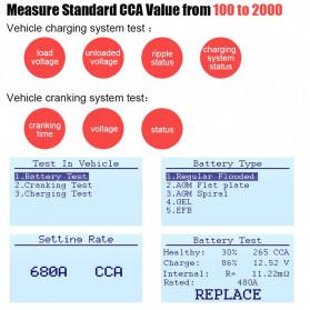 ANCEL Tester Baterai Aki Mobil Motor 12V 2000CCA 220AH - BA101 - Red - 2
