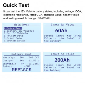 ANCEL Tester Baterai Aki Mobil Motor 12V 2000CCA 220AH - BA101 - Red - 3