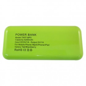 Taff Power Bank 5200mAh Model MP5 for Tablet and Smartphone ( MP5 ) - Green with White Side - 3