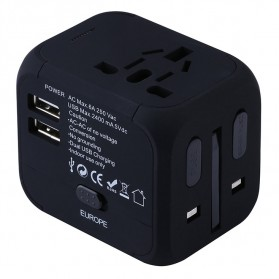 Universal Travel Adapter 4 in 1 US UK EU AU Plug with 2 USB Port - TB-P5 - Black